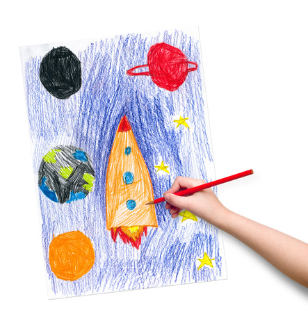 interplanetary: space ship. children drawing hand with crayon.