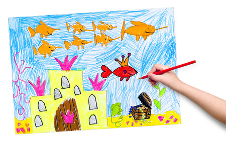 drowned: drowned castle and treasure. child drawing.