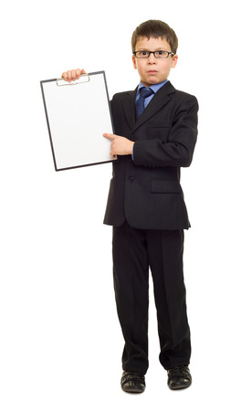 business suit: boy in suit show blank sheet clipboard Stock Photo