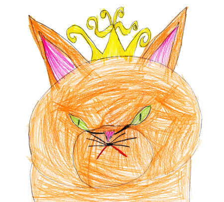 red cat queen portrait. child drawing. photo