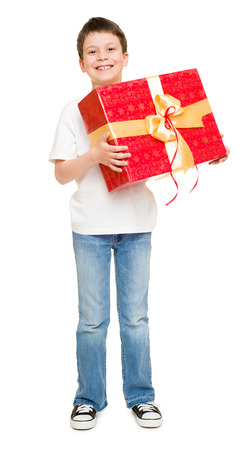little one: boy with gift box