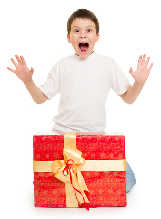 boy with red gift box photo
