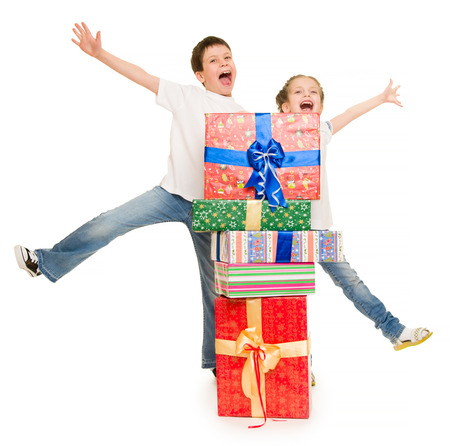 boy and girl with red gift box photo
