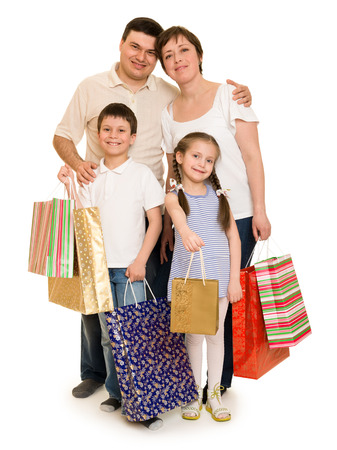 family shopping: happy family with shopping bag