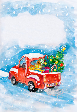 pickup truck: red car with christmas tree on snow. child drawing