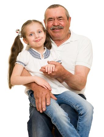 grandkids: Grandfather and grandchildren portrait studio shoot
