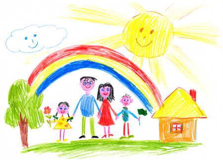 family: happy family on meadow near home child drawing