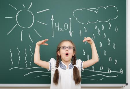 circulation: girl drawing water circulation on school board