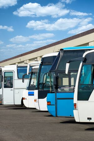 motorbus: the bus station with autobus