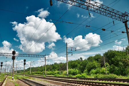 substructure: railroad infrastructure with traffic lights Stock Photo
