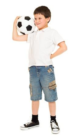pelota de futbol: chico de f�tbol con el estudio de bal�n de f�tbol aislado fondo blanco