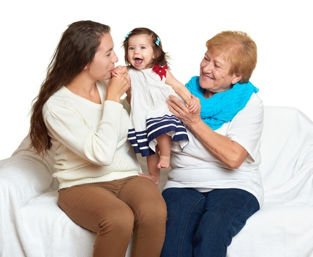 grandmother mother daughter: happy family portrait - baby, woman and old lady on white