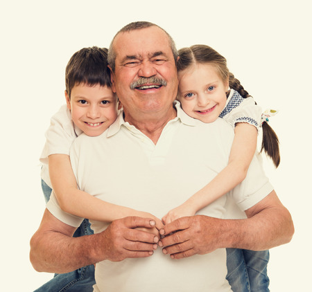 old people group: Grandfather and grandchildren portrait Stock Photo