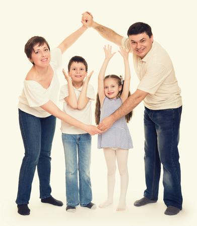 guy portrait: happy family in studio