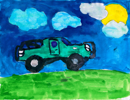 child drawing: car on meadow and sun, childish watercolor paint Stock Photo
