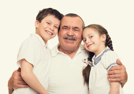 guy portrait: Grandfather and grandchildren portrait Stock Photo