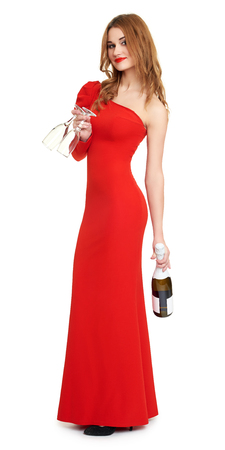 red dressed woman with champagne and wineglass on white