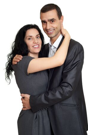 spaniard: Happy couple dressed in classic clothes, portrait at studio on white