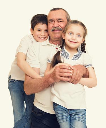 grandchildren: Grandfather and grandchildren portrait Stock Photo