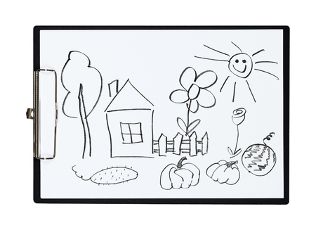 kitchen garden: Clipboard and paper sheet with pencil drawing rural house and kitchen garden, isolated object Stock Photo