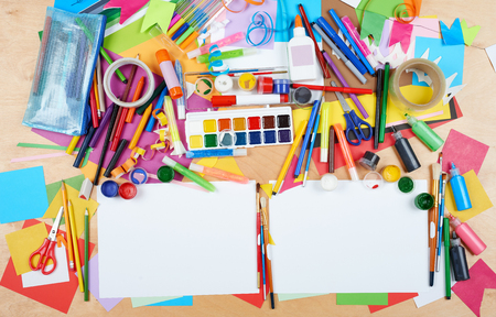 brush drawing: Child drawing top view. Artwork workplace with creative accessories. Flat lay art tools for painting. Stock Photo