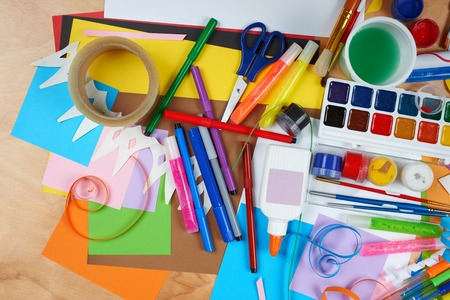 jobbing: artwork workplace with creative accessories, art tools for painting and drawing
