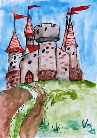 stronghold: old castle, tower with flag, medieval stronghold, child drawing watercolor on paper, hand drawn art picture