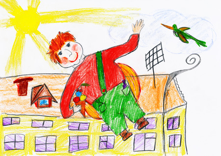 airscrew: boy fly with airscrew on his back, child drawing object on paper, hand drawn art picture Stock Photo
