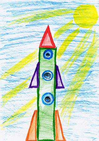 voyager: space rocket at launch, children drawing object on paper, hand drawn art picture Stock Photo