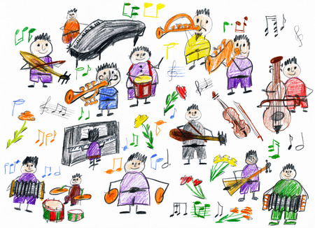 orchestra: cartoon people musician collection, orchestra object, children drawing on paper, hand drawn art picture