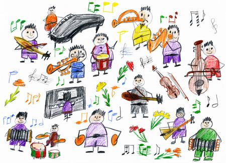 ludzie kreskówki kolekcja muzykiem, obiekt orkiestra, dzieci rysunek na papierze, rysowane ręcznie obraz sztuki