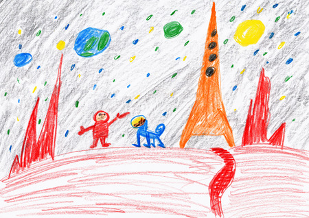 exploring: Astronaut and dog exploring the red planet, space concept, child drawing on paper Stock Photo