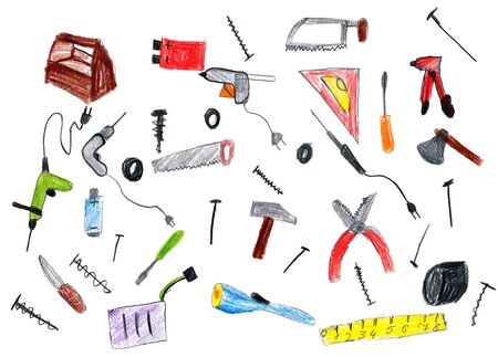 hardware tools: cartoon hardware tools collection, child drawing object on paper, hand drawn art picture