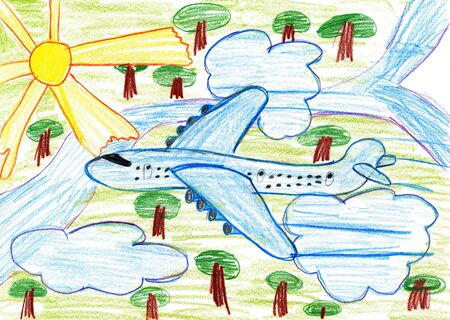 airliner: airliner fly high above the earth, child drawing pencil on paper Stock Photo