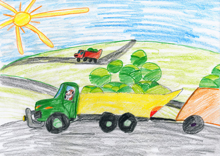 truck driver: harvesting, truck with vegetables goes off field, dog driver, agriculture concept, child drawing object on paper, hand drawn art picture Stock Photo