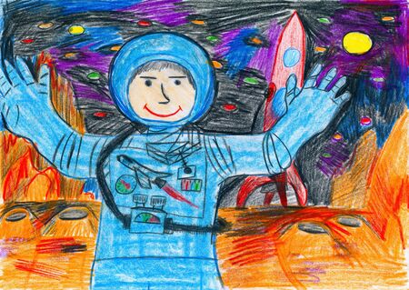 exploring: Astronaut exploring the red planet, space concept, child drawing on paper Stock Photo