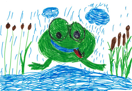 tongue out: childrens drawing. funny frog with tongue out Stock Photo