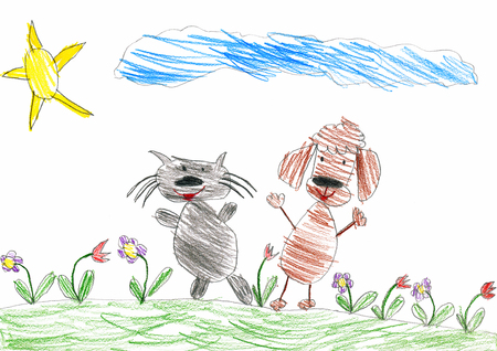 cat walk: cat and dog are friends walk on meadow, child drawing