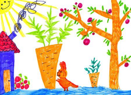 kitchen garden: kitty in kitchen garden, child drawing