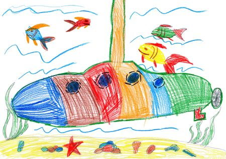 under the bed: child drawing. submarine and sea life