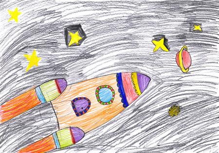 Raumschiff. Kinderzeichnung.