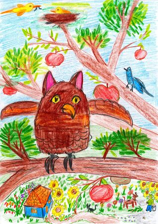 owl and other bird sitting on a tree branch in the village - child drawing picture on paper