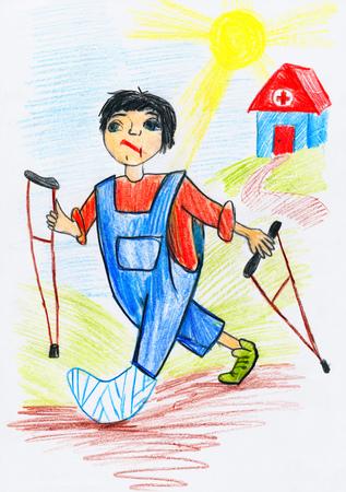 pierna rota: Paciente con una fractura en la pierna est� fuera del hospital con muletas, Concepto de la ambulancia - dibujo infantil imagen en papel