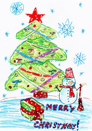 christmas winter: christmas tree and snowman with gifts, child drawing, top view hands with pencil painting picture on paper, artwork workplace