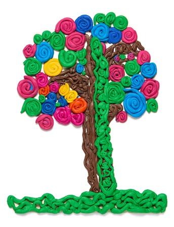 blind child: tree from plasticine, kids art object Stock Photo
