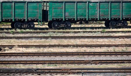 lading: industrial railroad and infrastructure, cargo transportation, delivery and shipping concept Stock Photo