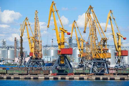 lading: industrial sea port and cranes, railways, warehouses