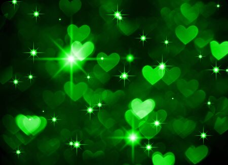 Heart background boke photo, dark green color. Abstract holiday, celebration and valentine backdrop. Stock Photo