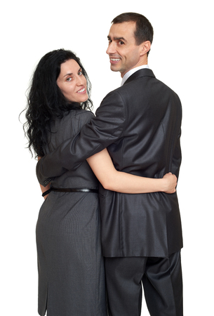 couple rear view, people backside look around, dressed in classic suit, white background