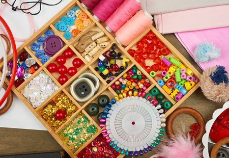 sewing accessories top view, seamstress workplace, many object for needlework and handicraft Stock Photo